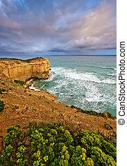 Rock formations at coastline, Great Ocean Road