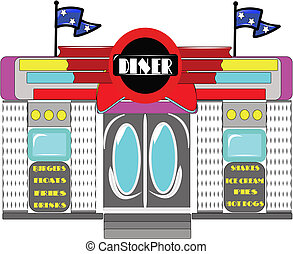 retro diner on white - vector illustration of retro diner on...