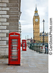 London - Big Ben and phone booths in London