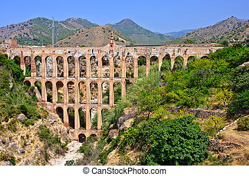Old aqueduct in Nerja, Costa del Sol, Spain