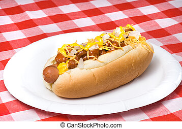 Chili dog - A scrumptious barbecued chili dog with onions,...