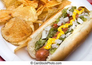 Hotdog and potato chips - A scrumptious barbecued hotdog...