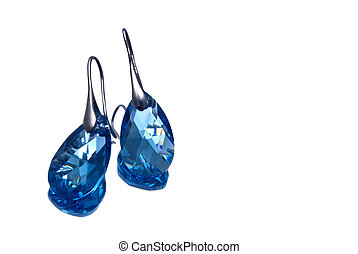handmade silver earrings with blue gemstones, isolated