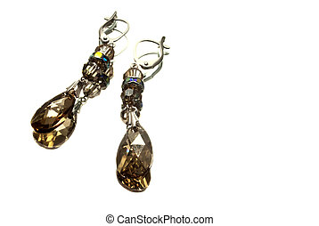 handmade silver earrings with yellow gemstones, isolated...