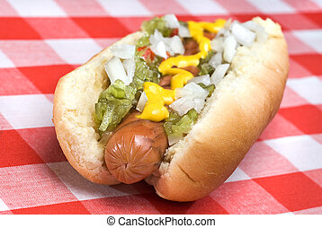 Hot dog during summer - A hotdog fully garnished with...