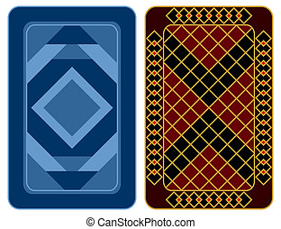 Playing card design - Design of two playing cards on a white...