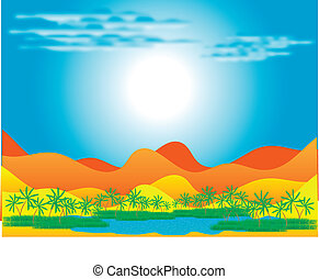 Oasis in the desert - An illustration of a desert oasis with...