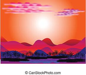 Oasis in the desert at sunrise