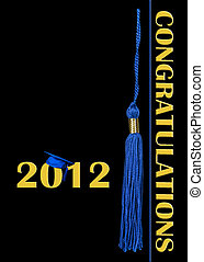 2012 Graduation - Blue cap and tassel on black for 2012...