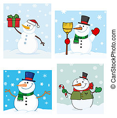 Joyous SnowmanVector Collection - Four Different Snowmen In...
