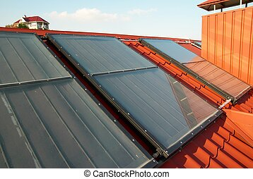 Alternative energy- solar system on the house roof