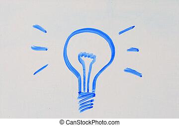 lightbulb on white board