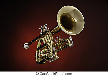 Cornet Trumpet Isolated on Red Spotlight