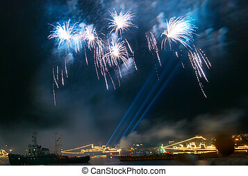 Salute, fireworks above the bay. Sevastopol, Ukraine.