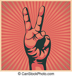 hand with victory sign - illustration in retro style of a...