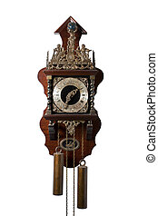 Ancient Cuckoo Clock Isolated on White