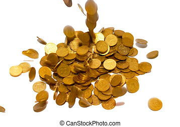 Rain of gold coins isolated on white