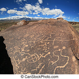 petroglyphs in the volcanic table land in the Owens valley...