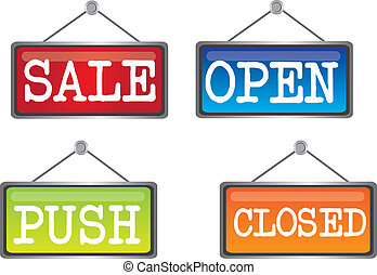 door sign - sale, open, push, closed colored door sign...