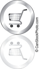 buy now button - silver shopping cart button with silver...
