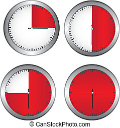 timer ilustration - red and white timer with silver edge...