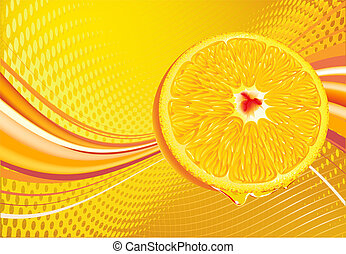 juicy slice of orange fruit - Vector illustration of...