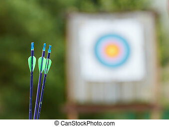 Archery equipment - arrows and target - Archery equipment at...