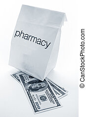Pharmacy Bag and dollar close up