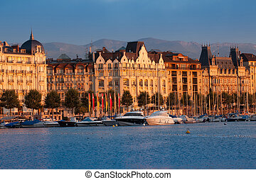 Geneva Cityscape - Geneva buildings in the morning sun light