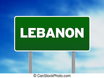 Lebanon Highway Sign - Green Lebanon highway sign on Cloud...