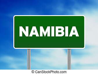 Namibia Highway Sign - Green Namibia highway sign on Cloud...