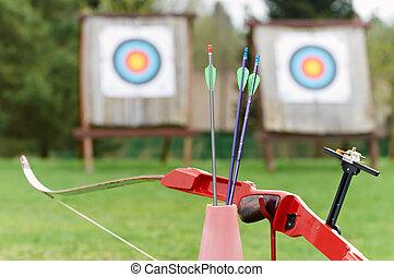 tiro al arco, equipo, -, arco, flechas, blanco