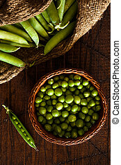 Fresh Peas - Peas in a Wicker Basket and Jute