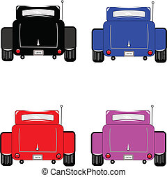 hot rod rear view  - rear view of hot rod cars on white