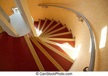 Spiral staircase in a house.