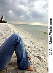 Beach seat - relaxing by the quiet seashore