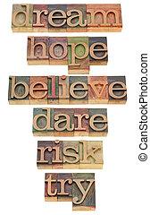 motivational words in letterpress type