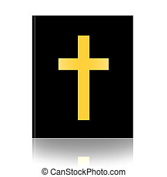 Holy Bible - Bible with christian cross isolated over white...