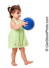 Happy toddler girl with ball - Beautiful cute happy toddler...