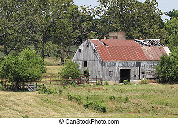 Large Old Country Barn in Field - Large old country barn in...