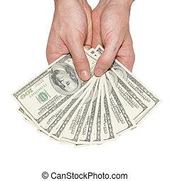 Dinheiro, dólares, mãos, isolado, branca