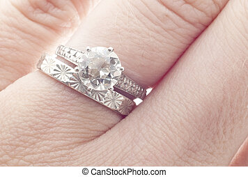 Antique Diamond Wedding Ring and Band on Finger