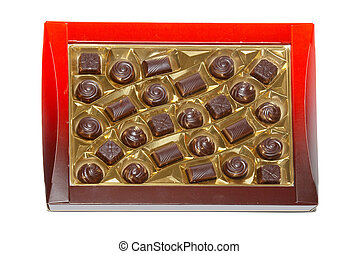 Sorted chocolate candies box isolated on white.