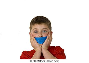 Gagged Boy - Boy gagged showing how he was silenced