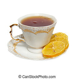 Teacup with tea and lemon isolated on white.