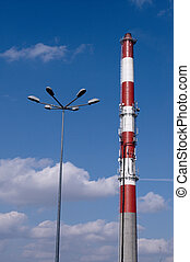 Factory chimney and Light Post