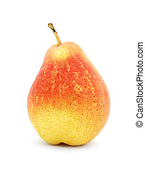 One red pear isolated on white background