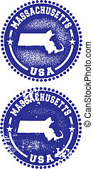 Massachusetts USA Stamps - A couple of distressed stamps...