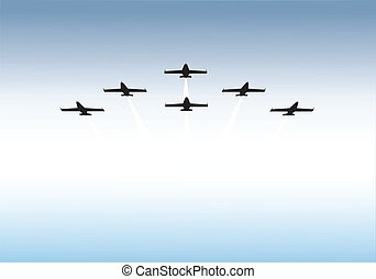 Formation flying - Vector illustration of jets flying in...