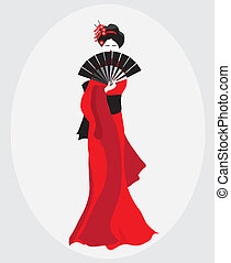 Geisha - A vector illustration of a Geisha dressed in red...